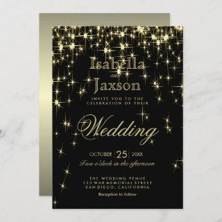 Classy Black and Gold Starlights Invitation