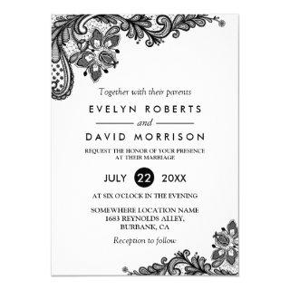 Classy Black White Lace Pattern Formal Wedding Invitations