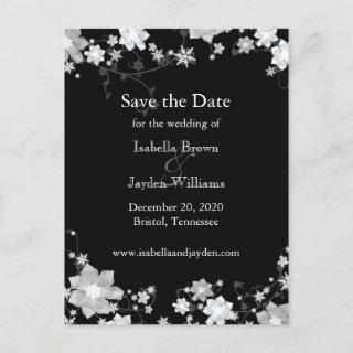 Classy Black + White Winter Wedding Save the Date Announcement Postcard