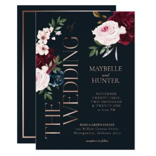 Classy Bold Burgundy & Navy Watercolor Florals Invitations
