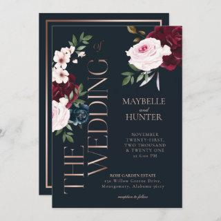 Classy Bold Burgundy & Navy Watercolor Florals Invitation