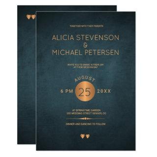 Classy dark navy blue metallic copper wedding invitation