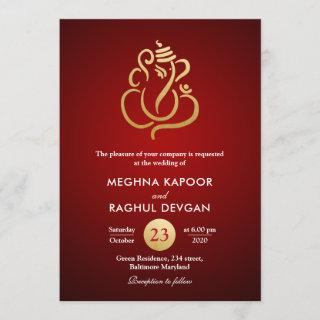 Classy Faux Gold Foil Ganesha/Indian Red Wedding Invitations