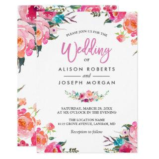 Classy Floral Blossom Watercolor Flowers Wedding Invitations