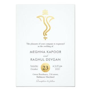 Classy Fuax Gold Foil Ganesha/Indian God Wedding Invitation
