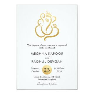 Classy Fuax Gold Foil Ganesha/Indian God Wedding Invitations