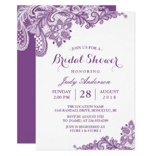 Classy Lavender Purple Modern Lace Bridal Shower Invitation