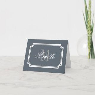 Classy monogrammed note cards with stylish border