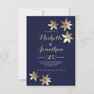 Classy navy blue gold calligraphy floral wedding i invitation