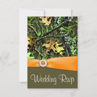 Classy Orange Hunting Camo Wedding RSVP Cards