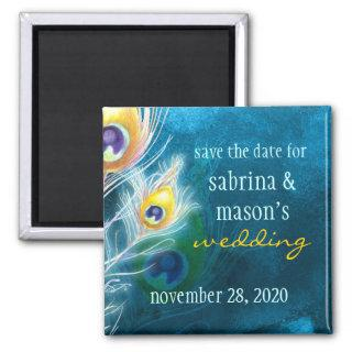 Classy Peacock Blue Wedding Save the Date Magnet