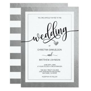 Classy Simple Black & White Heart Silver Wedding Invitations