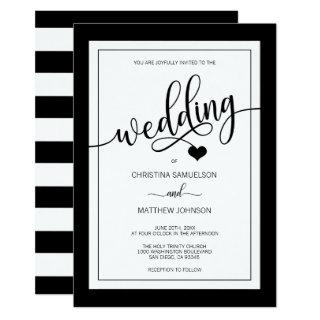 Classy Simple Black & White Heart Wedding Invitation