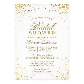 Classy Trendy Gold Confetti Dots Bridal Shower Invitations