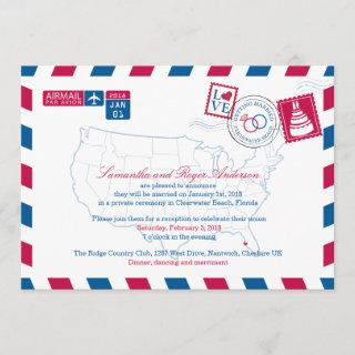 Clearwater Beach Florida Airmail Wedding Reception Invitations