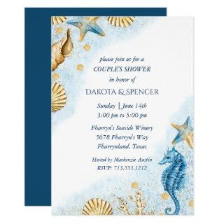 Coastal Chic | Modern Coral Reef Couple Shower Invitations