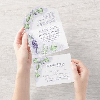 Coastal Chic | Purple and Green Coral Reef Wedding All In One Invitations