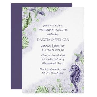 Coastal Chic | Purple and Green Rehearsal Dinner Invitations