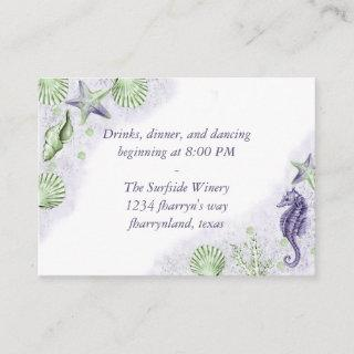 Coastal Chic | Purple and Lime Green Reception Enclosure Card