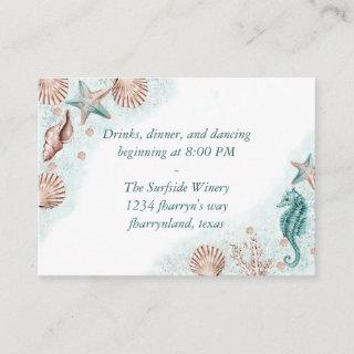 Coastal Chic | Teal Green and Coral Reef Reception Enclosure Card