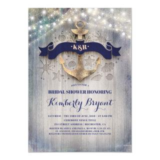Coastal Nautical Golden Anchor Bridal Shower Invitations