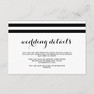 Coastal Wedding Black and White Guest Details Enclosure Card