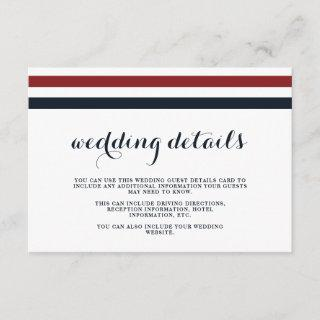 Coastal Wedding Blue Red and White Guest Details Enclosure Card