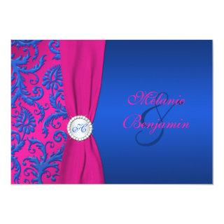 Cobalt and Fuchsia Damask Wedding Invitations
