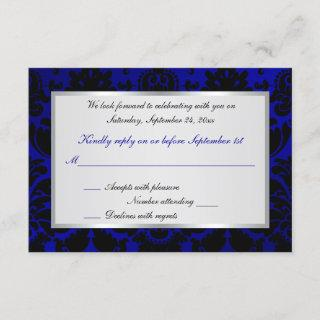 Cobalt Blue and Black Damask Reply Card