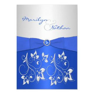 Cobalt Blue and Silver Floral Wedding Invitations