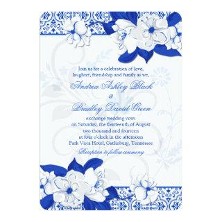 Cobalt Blue and White Floral Wedding Invitation
