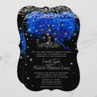 Cobalt Blue Heart Leaf Tree Wedding Invitations