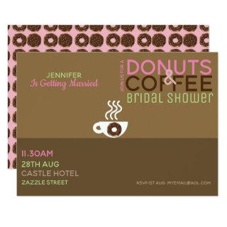 COFFEE DONUTS Bridal Shower Invitation Pink Choc
