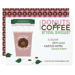 COFFEE DONUTS Bridal Shower Invitation Pink Green