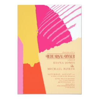Color Block Wedding Rehearsal Dinner Summer ID740 Invitation