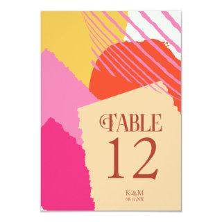 Color Block Wedding Table Numbers Summer ID740