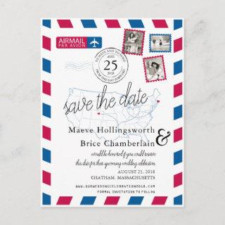 Colorado and Cape Cod Airmail Save The Date Announcement Postcard