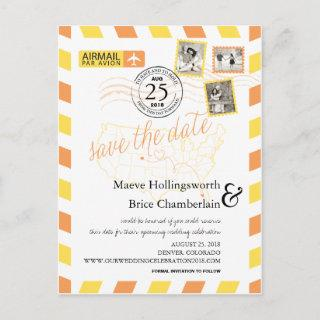 Colorado Florida Location Airmail Save The Date Announcement Postcard