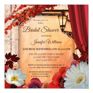 Colorful Autumn Classic Floral Bridal Shower Invitations
