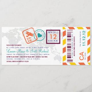 Colorful Boarding Pass Airmail Ticket Invitations