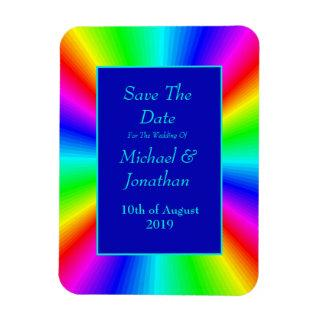 Colorful Bright Rainbow Wedding Save The Date Magnet