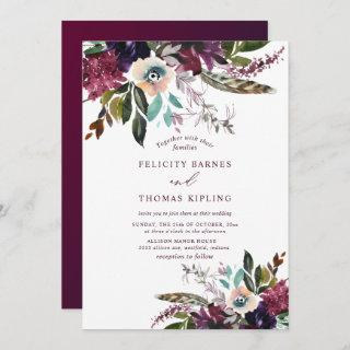 Colorful Burgundy Watercolor Floral White Wedding Invitations