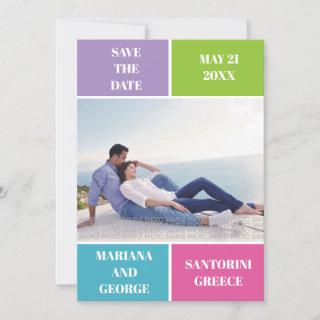 Colorful color block wedding Save the Date