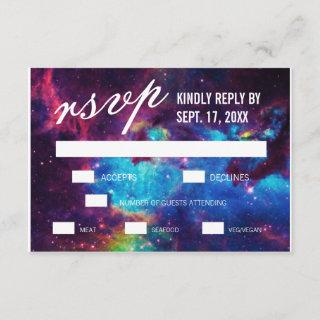 Colorful Galaxy Wedding RSVP Cards