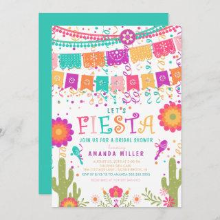 Colorful Let's Fiesta Bridal Shower Invitations