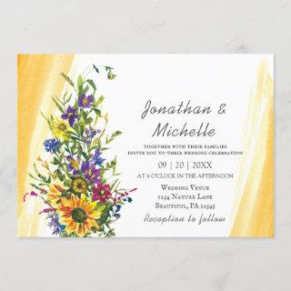 Colorful Sunflower Wildflowers Greenery Wedding Invitations