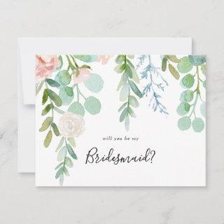 Colorful Tropical Floral Bridesmaid Proposal Note Card