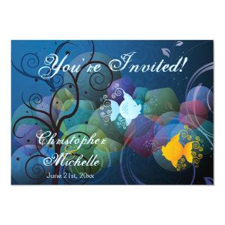 Colorful Underwater Fish Beach Wedding Invitations