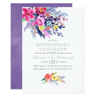 Colorful Watercolor Floral Bridesmaids Luncheon Invitations