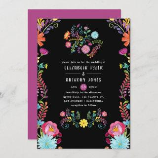 Colorful Watercolor Floral Mexican Fiesta Wedding Invitations